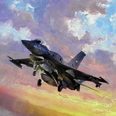 Lockheed Aircraft Painting - F 16 Fighting Falcon 011v by Gull G
