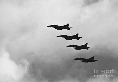 F18 Silhouettes  Flying In Formation Original by Mark Hendrickson