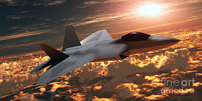 Nato Painting - F22 Fighter Jet At Sunset by Corey Ford