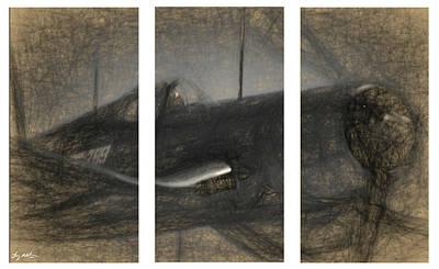 Digital Art - F4u Corsair Triptych Example by Tommy Anderson