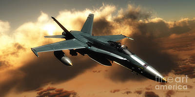 Twin Flame Painting - Fa-18 Hornet Fighter by Corey Ford