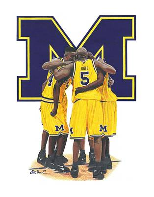 University Of Michigan Mixed Media - Fab Five by Chris Brown