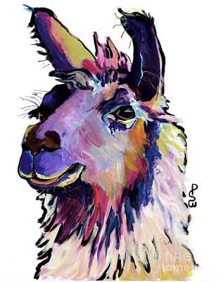 Llamas Painting - Fabio by Pat Saunders-White