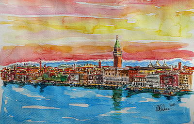 Venice Painting - Fabulous Venice Italy With Snow Covered Alps by M Bleichner