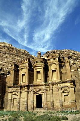 Facade Of Ad Deir An Ancient Rock-cut Monastery In Petra Print by Sami Sarkis