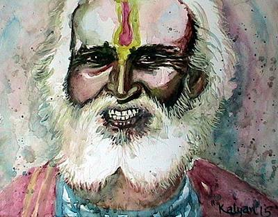 Baba Painting - Face 5 by Kalyan Bandyopadhyay