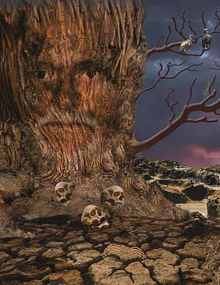 Vulture Mixed Media - Face In The Tree by Edelberto Cabrera