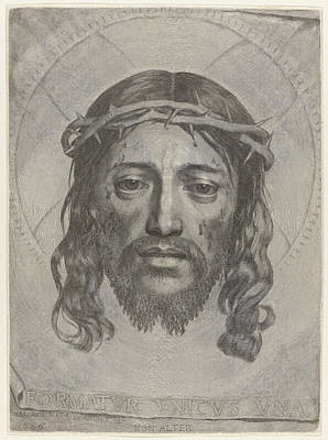 Drawing - Face Of Christ by Claude Mellan