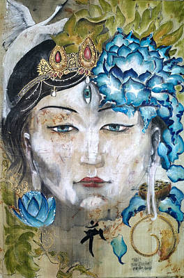 Tantra Painting - Face Of White Tara  by Silk Alchemy