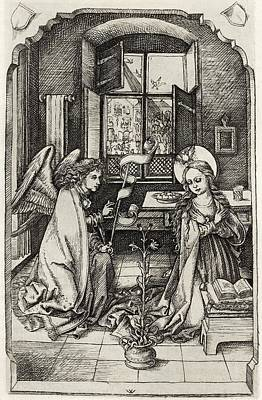 Facsimile Of The Annunciation To The Print by Vintage Design Pics