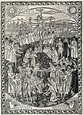 Facsimile Of The Crucifixion From Print by Vintage Design Pics