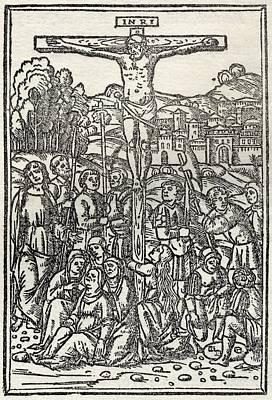 Facsimile Of The Crucifixion Used As Print by Vintage Design Pics