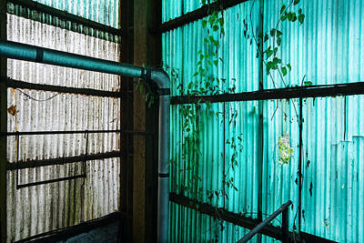 Abandoned Houses Photograph - Factory Hall Wall - Industrial Decay by Dirk Ercken