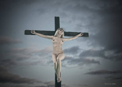 Female Christ Photograph - Faded Female Crucifix by Ramon Martinez