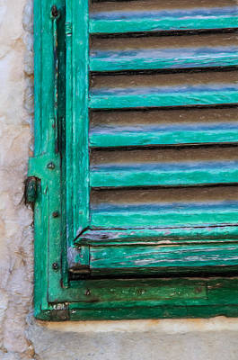 Tuscan Hills Drawing - Faded Green Window Shutter by David Letts