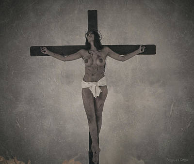 Female Christ Photograph - Faded Old Female Crucifix by Ramon Martinez
