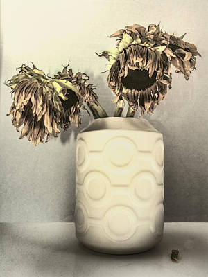Faded Sunflowers Print by William Dey