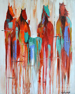 Wild Horse Painting - Fading Away 2 by Cher Devereaux