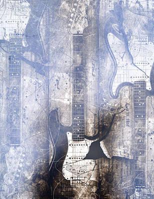 Fender Strat Digital Art - Fading Away by Gary Bodnar