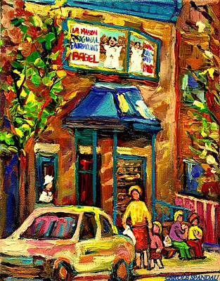 Montreal Storefronts Painting - Fairmount Bagel In Montreal by Carole Spandau