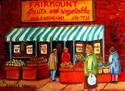 Montreal Storefronts Painting - Fairmount Fruit And Vegetables by Carole Spandau
