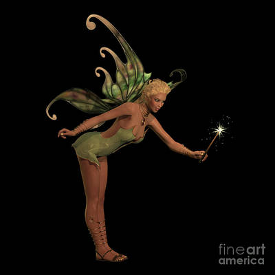 Fairy Anouk On Black Print by Corey Ford