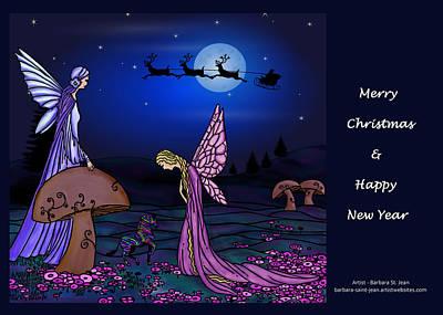 Flower Pink Fairy Child Digital Art - Fairy Christmas Card by Barbara St Jean