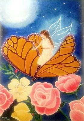 Night Angel Painting - Fairy Fantasy by Shikha Narula