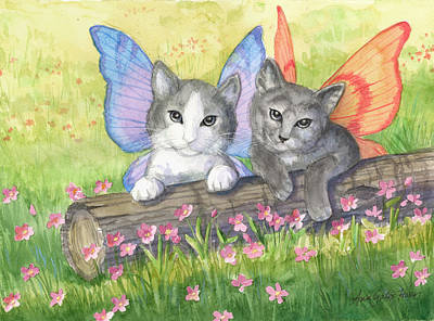 Painting - Fairy Kittens by Ann Gates Fiser