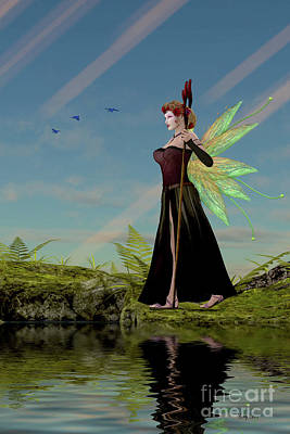 Fairy Lillith By Pond Print by Corey Ford