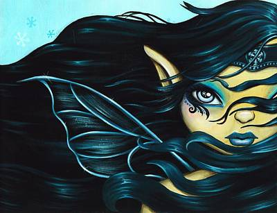 Fairies Painting - Fairy Snowflake by Elaina  Wagner
