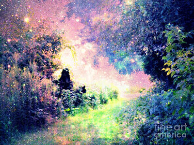 Flower Pink Fairy Child Digital Art - Fairy Tale Path by Johari Smith