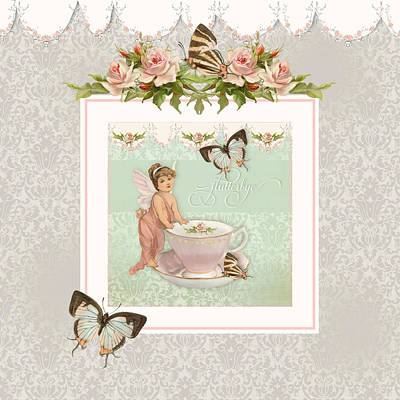 Bed Painting - Fairy Teacups - Flutterbye Butterflies And English Rose Damask by Audrey Jeanne Roberts