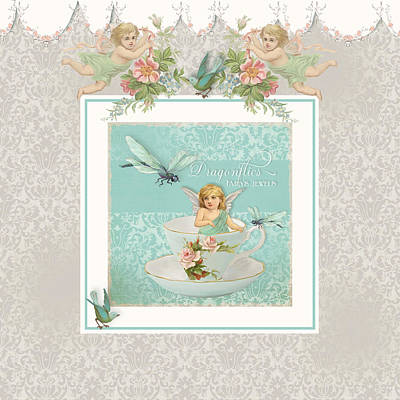 Granddaughter Painting - Fairy Teacups - Vintage Modern Baby Room Decor by Audrey Jeanne Roberts