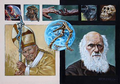 Darwin Painting - Faith And Evolution by John Lautermilch