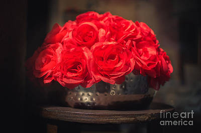 Fake Red Roses In Shadows On A Metallic Pot  Print by Luca Lorenzelli