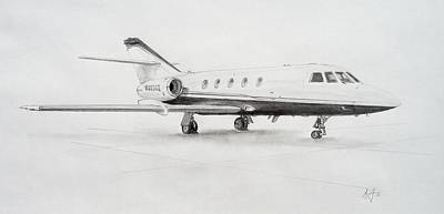 Airliners Drawing - Falcon 20 Alone On The Ramp by Nicholas Linehan