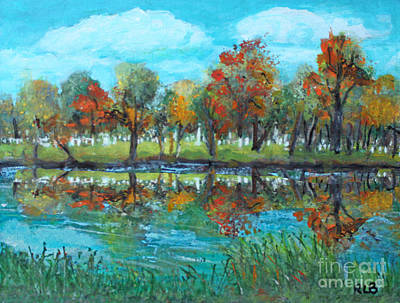 Ma. Mass Painting - Fall Along The Charles River by Rita Brown