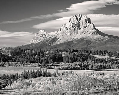 Fall At The Crowsnest In Monochrome Print by Royce Howland