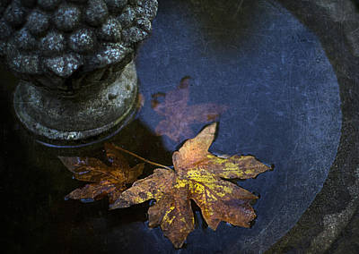 Fall At The Fountain Print by Rebecca Cozart