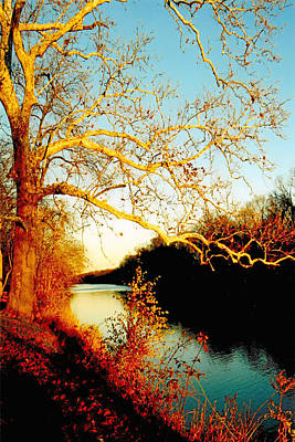 Surreal Landscape Photograph - Fall At The Raritan River In New Jersey by Christine Till
