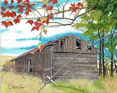 Abandoned Farm House Painting - Fall Barn by David Wolfer