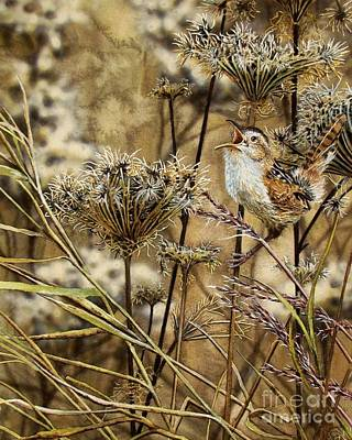 Wren Painting - Fall Call by Greg and Linda Halom