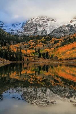 Fall Colors At Maroon Bells Colorado Print by Dan Sproul
