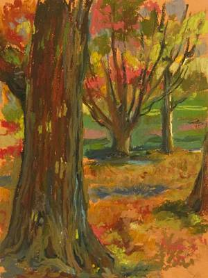 Changing Leaves Drawing - Fall Comes To Prospect Park by Linda Berkowitz
