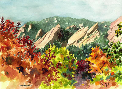 Fall Flatirons Print by Anne Gifford