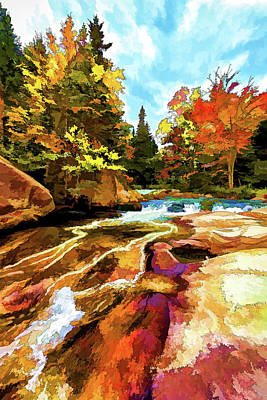 Fall Foliage At Ledge Falls 1 Print by Bill Caldwell -        ABeautifulSky Photography