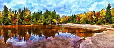 Fall Foliage At Ledge Falls 3 Print by Bill Caldwell -        ABeautifulSky Photography