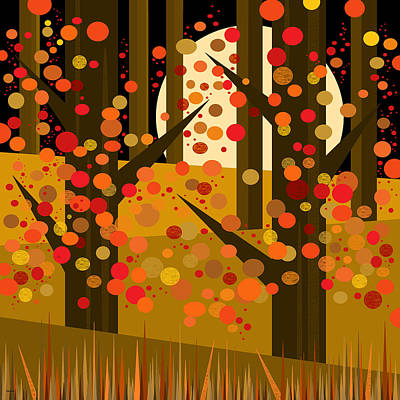 Fall Forest - Night Print by Val Arie