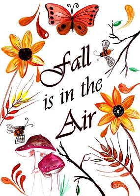 Fall Is In The Air Print by Sweeping Girl